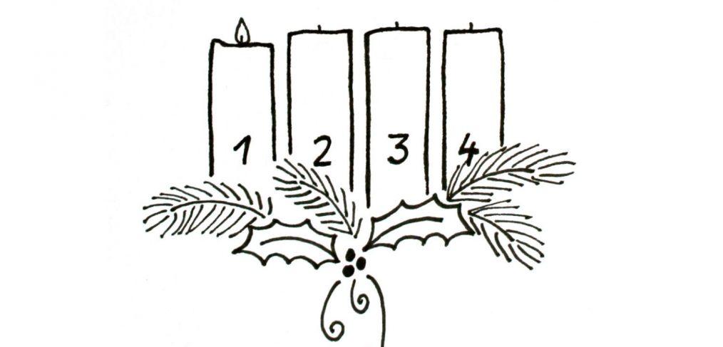 Adventskranz zeichnen: die erste Kerze