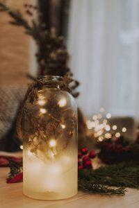 Lichterkette Weihnachten Deko Idee im Glas